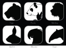 Tiger Monkey Panda Tapir Macaws Rabbit Black and white Stock Photos