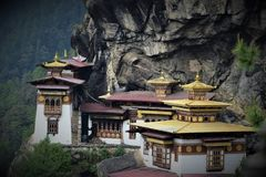 Tiger nest. In bhutan house architect royalty free stock photo