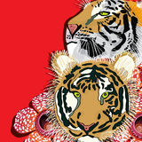 Tiger not cute. Illustration tiger not cute Rafflesia flower red background. abstract not disturb me feel cool animal vector illustration