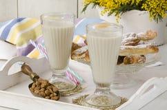 Tiger nut milk and fartons. Horchata de chufa. stock photo
