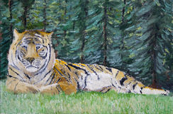 Tiger oil painting. Royal bengal tiger in forest setting rendered in oil-paints Stock Photo