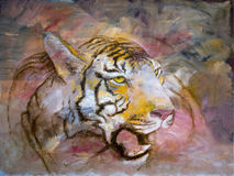 Tiger Orange. Funky & Modern Multicolored Oil painting on Canvas, Tiger in orange and red colors. I, the Artist, owns the copyright royalty free illustration