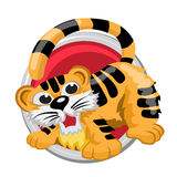 Tiger. Orient horoscope sign  in circle. Chinese symbols Royalty Free Stock Image