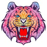 Tiger ornament vector. For wallpaper wall Stock Photo