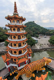 Tiger Pagoda at Lotus pond, Kaohsiung, Taiwan. Royalty Free Stock Photos