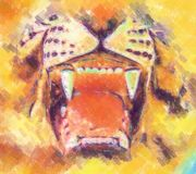 Tiger painting. 2d picture painting - computer generated illustration vector illustration
