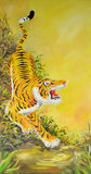 Tiger painting. By water color technique Stock Images