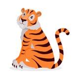 Tiger Panthera Tigris Cartoon Isolated on White. Royalty Free Stock Photo