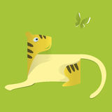 Tiger of the  paper on green background .  The idea for the sticker Royalty Free Stock Photos