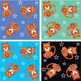 Tiger pattern. Seamless tiger pattern with four different background colours Stock Images