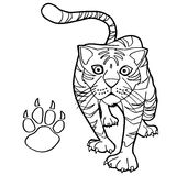 Tiger with paw print Coloring Page vector Stock Photography