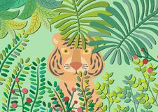 Tiger Peeking Through Leaves. Vector illustration. Tiger hiding behind bushes. In the middle of tropical rainforest. Jungle pastel vector cartoon. Deep forest royalty free illustration
