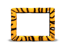 Tiger photo frame. Realistic tiger fur photo frame royalty free illustration