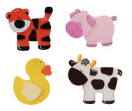 Tiger, Pig, Cow, and Duck. A Tiger, Pig, Cow, and Duck isolated over white Stock Images