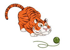 Tiger play with ball of thread 2 Stock Images