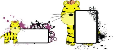 Tiger plush cute cartoon copy space. In format very easy to edit vector illustration