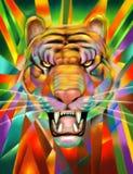 Tiger Portrait Digital Painting astratto Fotografia Stock Libera da Diritti