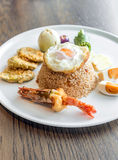 Tiger prawn fried rice. With fried egg and salt egg Royalty Free Stock Photography