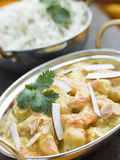 Tiger Prawn Korma Restaurant Style with Rice Royalty Free Stock Image