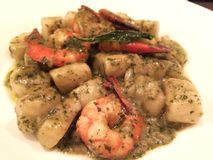 Tiger prawn pesto italian homemade gnocchi Royalty Free Stock Photography