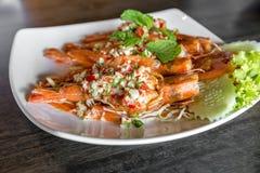 Tiger prawn spicy salad, Royalty Free Stock Photos
