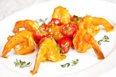 Tiger prawns with bisque sauce Royalty Free Stock Image