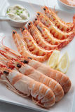 Tiger prawns and crayfish boiled Royalty Free Stock Image