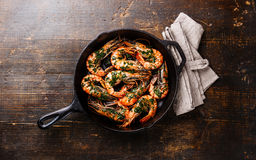 Tiger prawns on frying pan with green sauce Stock Images