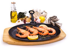 Tiger prawns on grill Stock Photography