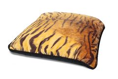 Tiger Print Cushion. Isolated on white stock images