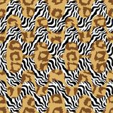 Tiger print waves. Seamless  pattern with animal skin textures. Safari textile collection Stock Image