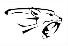 Tiger puma Tigerhuvud, rytande huggtandframsida royaltyfri illustrationer