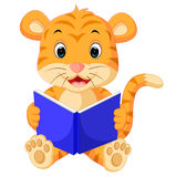 Tiger reading book Royalty Free Stock Photo