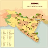 Tiger Reserve Map Of India Photos libres de droits