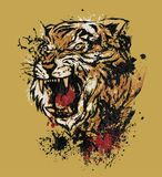 Tiger Roar. A Tiger head in splattered painting Stock Photography