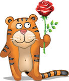 Tiger with rose Royalty Free Stock Images