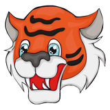 Tiger`s head. Cartoon style.  Clip art for children. Stock Images