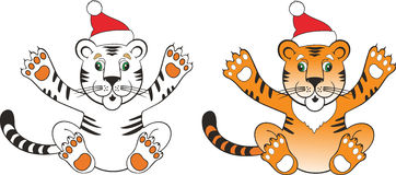 Tiger santa 2010. Tiger a symbol of new year 2010 Royalty Free Stock Photo