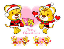 Tiger Santa Claus and deer mascot the event activity. Christmas Royalty Free Stock Photo