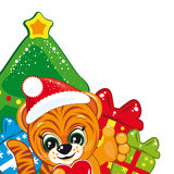 Tiger in the Santa hat. With the Christmas tree and gifts - Vector illustration for your design Royalty Free Stock Image