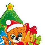 Tiger in the Santa hat royalty free stock image