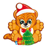 Tiger in the Santa hat. With the Christmas tree and gifts - Vector illustration for your design Royalty Free Stock Photos