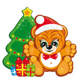 Tiger in the Santa hat stock photo