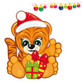 Tiger in the Santa hat. Vector illustration for your design Royalty Free Stock Photo