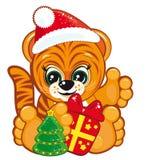Tiger in the Santa hat royalty free stock photo
