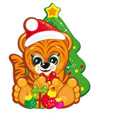 Tiger in the Santa hat. Vector illustration for your design Stock Images