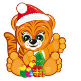 Tiger in the Santa hat  with the Christmas tree. And gifts - illustration for your design Stock Photography