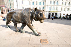 Tiger sculpture in downtown of Oslo Norway Stock Images