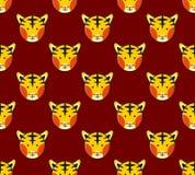Tiger Seamless on Dark Red Background. Vector Illustration Stock Image