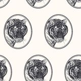 Tiger. Seamless pattern with animals of Africa. Hand drawing of wildlife. Vector illustration art. Black and white. Old engraving. Vintage. Design for fabrics vector illustration